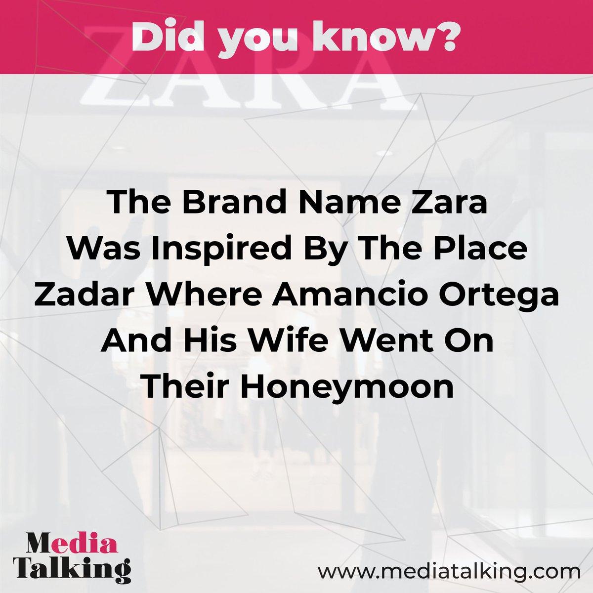 The brand name Zara was inspired by the place Zadar where Amancio Ortega and his wife went on their Honeymoon @zara #zarawoman #zaradress #zarasale #zarakids #zarafashion #zaragoza #zaraoutfit #zaraph #zarathailand #talking #marketing #media #branding #design #fashionpic.twitter.com/ldLXaS7IGs