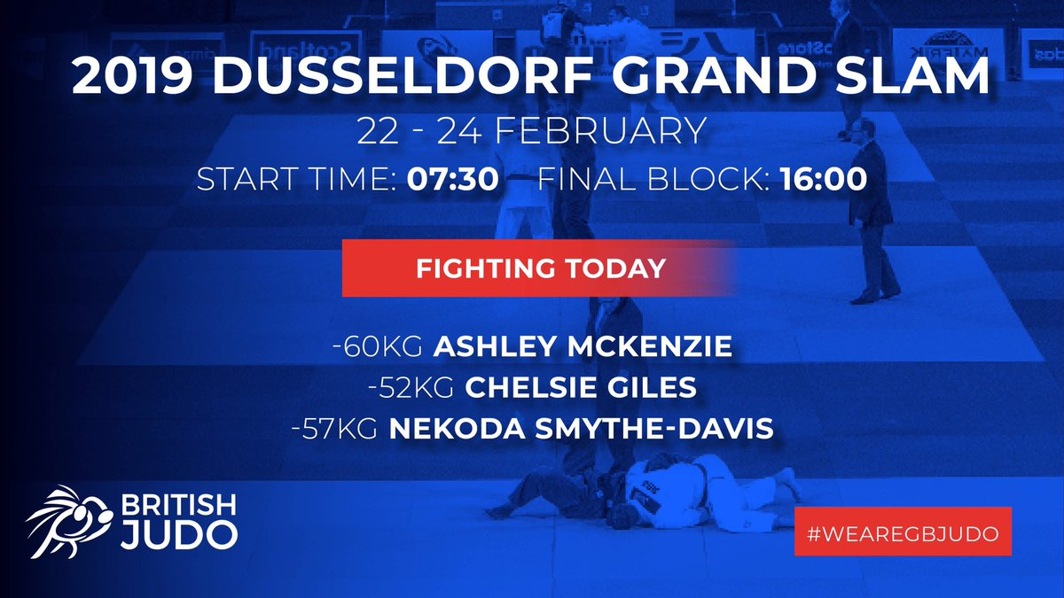 Following byes in the opening rounds for all of our athletes, we are still around 90 minutes away from our first British contest of the day!  #JudoDusseldorf2019