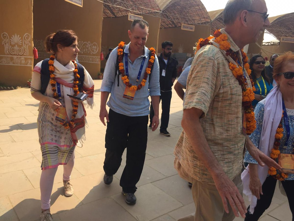 Foreign guests started their trip to #Kumbh2019 with #Sanskritigram and enjoyed the introduction to rich Indian heritage & culture.
