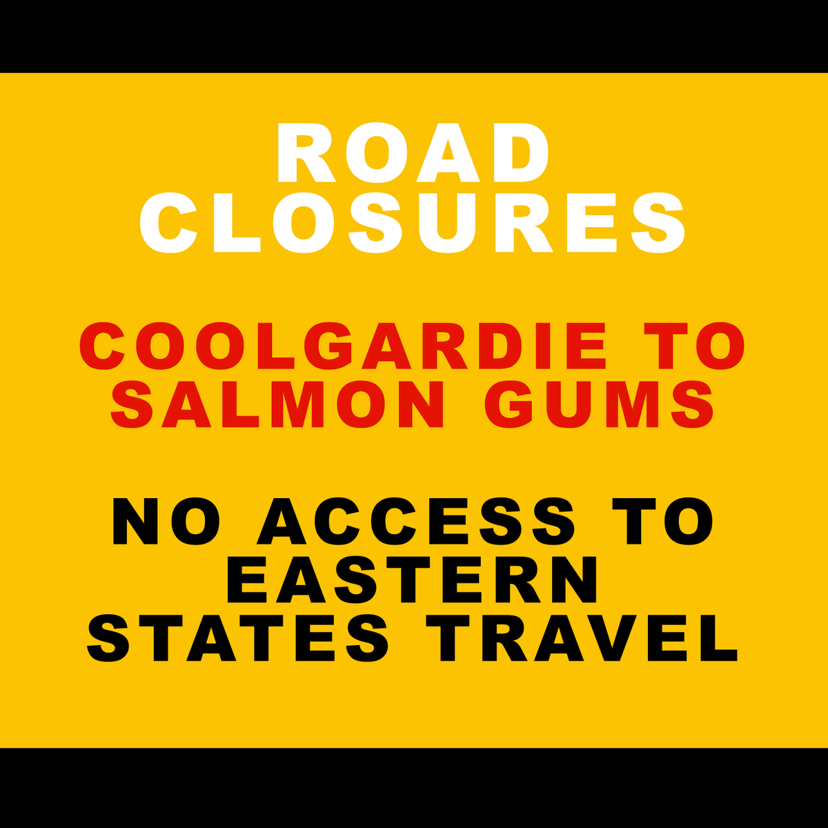 The Coolgardie-Esperance Hwy from Coolgardie - Salmon Gums is closed due to bushfires. Currently no access for traffic hoping to travel through to SA. For a full list of road closures and the latest updates and info visit  https://t.co/W621FB0add. https://t.co/35alVCLp8N