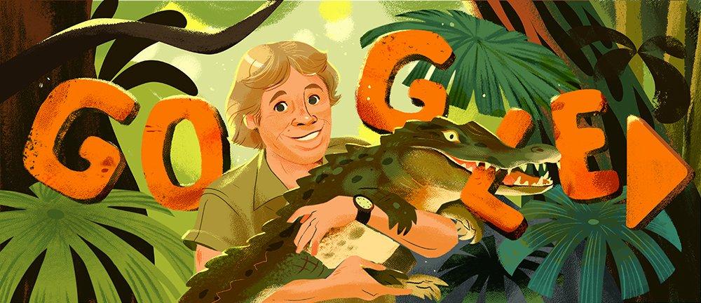 A Google Doodle of Steve Irwin holding a crocodile.