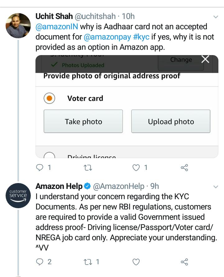 Excellent. Amazon has removed #Aadhaar as ID option for KYC. Further, it confirms it is not a government verfied or government issued ID. It&#39;s strange how many Indians don&#39;t even notice this! <br>http://pic.twitter.com/3ZSbV584qk