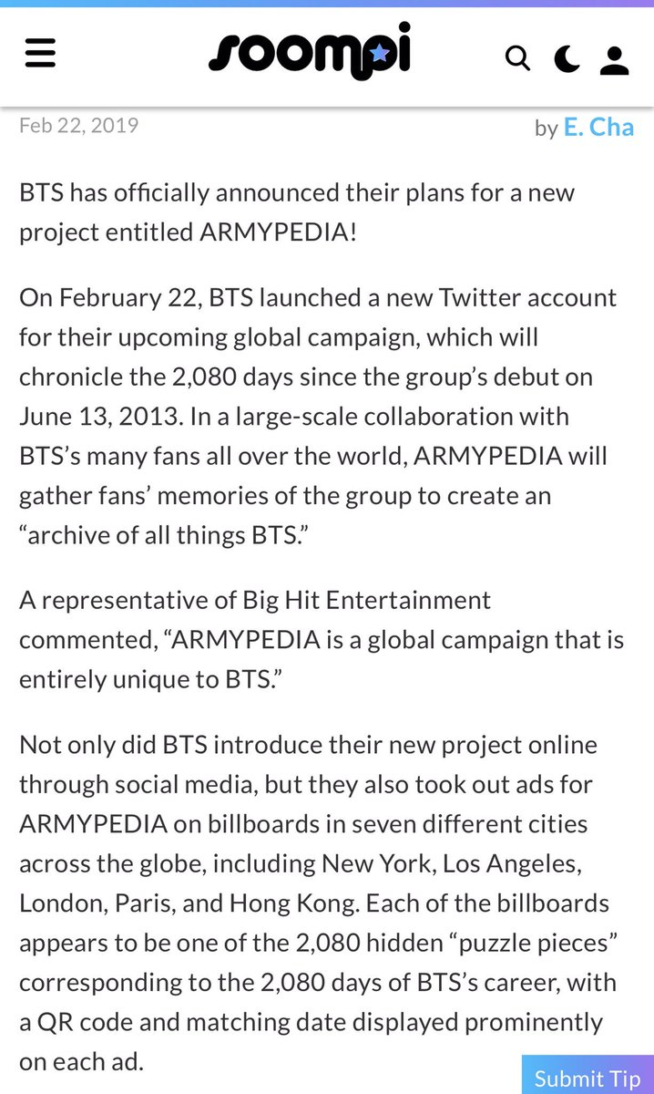 """""""#ARMYPEDIA  is a global campaign that is entirely unique to #BTS.""""  The billboard ads (QR codes) for #아미피디아  can be found in seven counties across the globe including: • NY • LA • London • Paris • Hongkong • Korea  So who's that unnamed country to complete the list?  <br>http://pic.twitter.com/1Ava1d2mp6"""