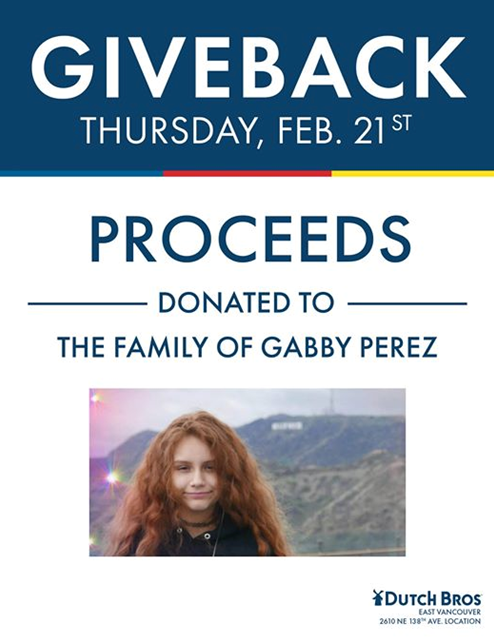 30 minutes left! #DutchBros in East Vancouver is donating 50% of proceeds today to the family of Gabby Perez who died earlier this month playing the choking game. The @DBCouv location closes at 10pm so you still have time if you want to help this family. #VanWa  #LiveOnK2