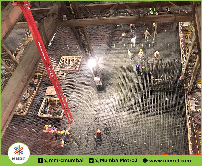 MMRC PKG 1 completes 1st pour of concourse slab at #CuffeParadeStation admeasuring 391 sqm at Grid C10-C9-C8 using 30 TMT steel  260 cum concrete at an avg pouring rate of 20 cum/hr.   With this Package 1 completes it&#39;s  2nd concourse slab of the package. @MahaDGIPR <br>http://pic.twitter.com/lSwfFL4i2x