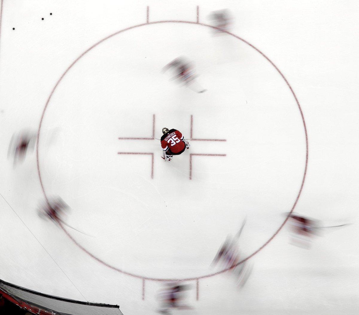 Fun photo from the remote during warmups prior to Devils vs Senators NHL game in Newark.