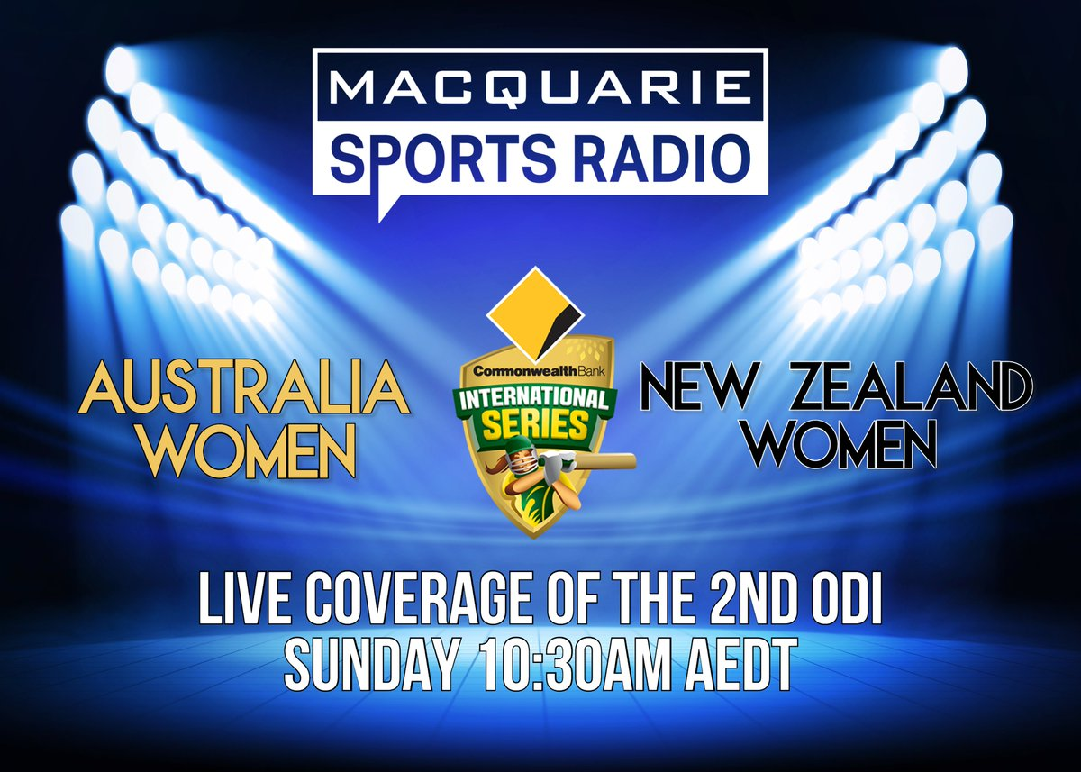 DON'T MISS the second CommBank ODI between Australia and New Zealand!  Catch it LIVE on Macquarie Sports Radio on Sunday from 10:30am  Listen here ->  https://t.co/WdkTZdBzTs