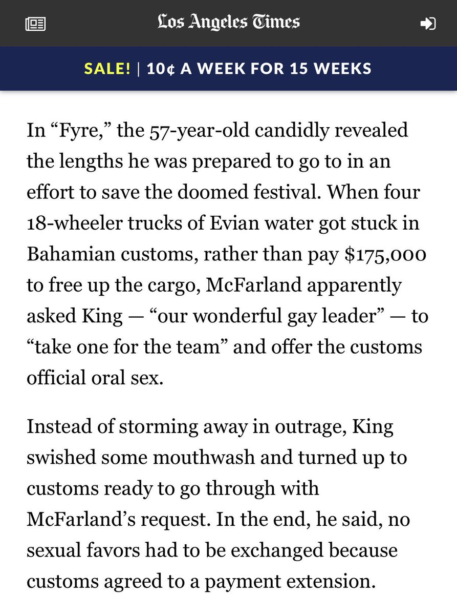 months later & i still don't understand this fyre story. it seems like a request that's being treated as a scenario that partially played out. was there a gay chief customs officer? was this legit event planner going to just walk up to his office & ask? i do not believe.