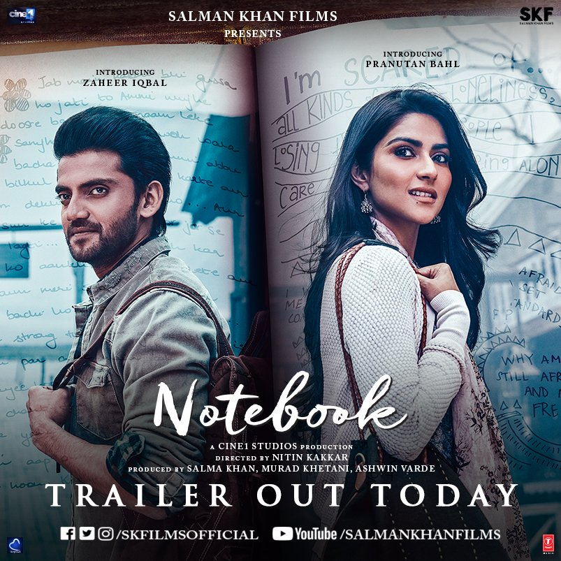 Do you know what it feels like to fall in love with someone you've never seen?Stay tuned, #NotebookTrailer out today. @BeingSalmanKhan @pranutanbahl @iamzahero @nitinrkakkar @SKFilmsOfficial @muradkhetani @ashwinvarde @TSeries