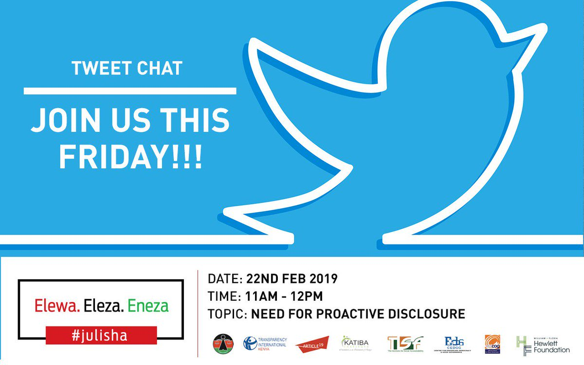 Happening in under an hour: A tweetchat with @article19eafric, @katibainstitute and @vn6 on the information public bodies are required to give to you by the Access to Information Act, and how you can go about asking for it.
