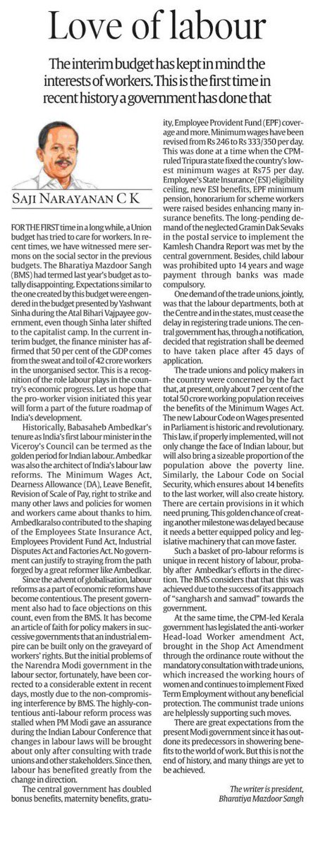 श्रमेव जयते: Govt led by PM @narendramodi has kept in mind the interests of workers by doubling bonus benefits, maternity benefits, gratuity, EPF coverage and more. Read on.  https://t.co/cgNXIjvayZ