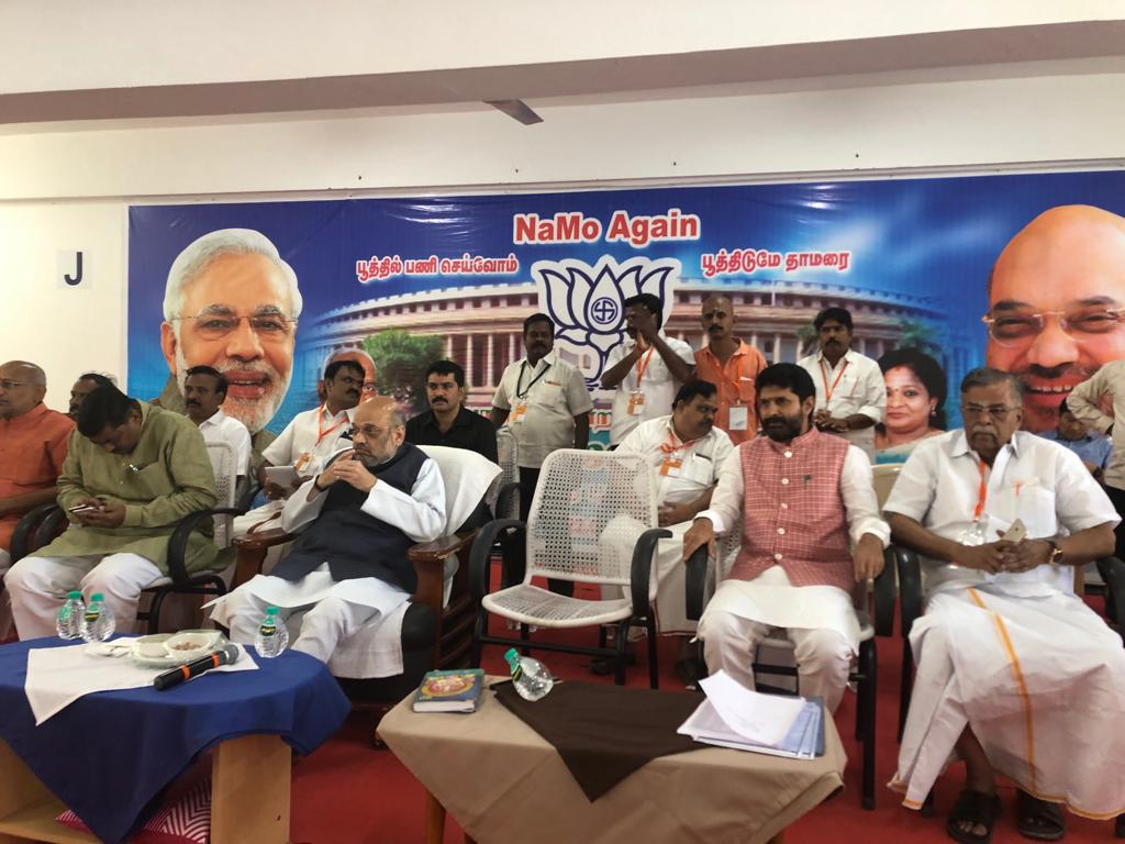 In Madurai with @BJP4India President Sri @AmitShah at the @BJP4TamilNadu Shakti Kendra meeting.  Looking at the strength & dedication of our Karyakartas, along with the support from Tamil Makkal, I am confident of BJP achieving greater success in Lok Sabha elections.  #TNWithBJP