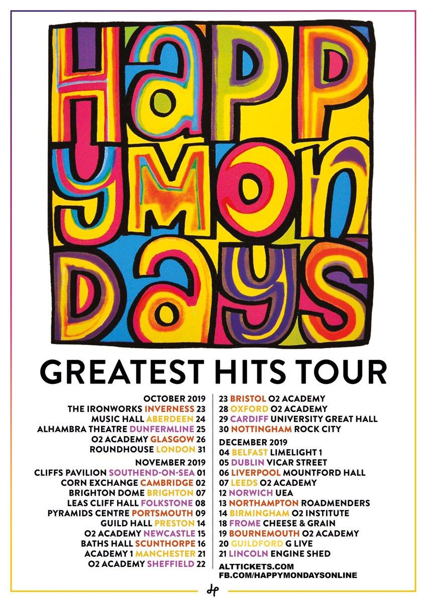 ⭐️HAPPY MONDAYS GREATEST HITS TOUR 2019!!⭐️30 DATE UK TOUR - OCTOBER, NOVEMBER & DECEMBER  TICKETS ON SALE TODAY AT 10AM!!  Info: http://facebook.com/happymondayson… … #HappyMondays #ShaunRyder #Bez #Rowetta #GaryWhelan #PaulRyder #MarkDay #DanBroad #Music #Livemusic #Tour
