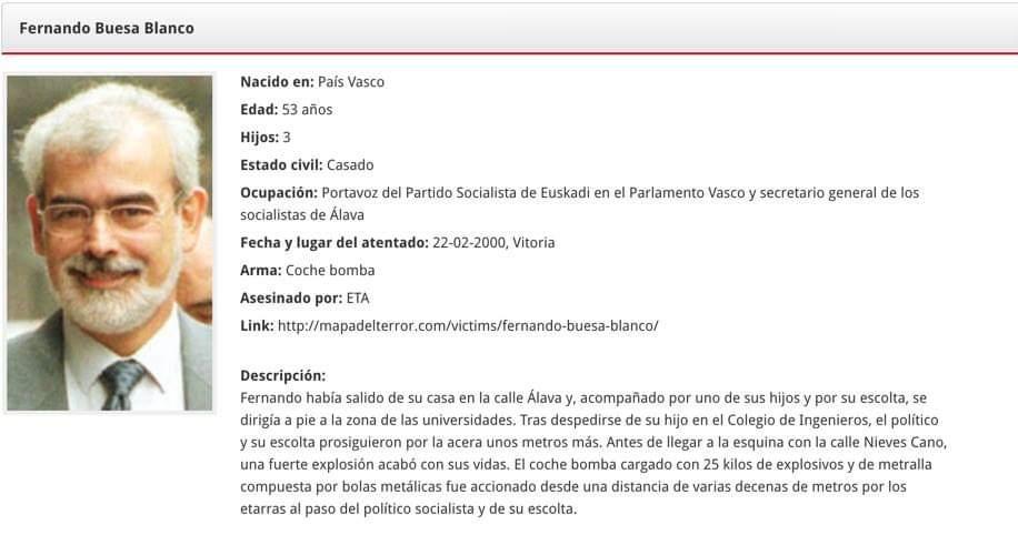 #TalDiaComoHoy del año 2000 #ETA asesinó al parlamentario socialista Fernando Buesa y a su escolta, Jorge Díez Elorza.  #memoria  http://mapadelterror.com/victims/jorge-diez-elorza/…