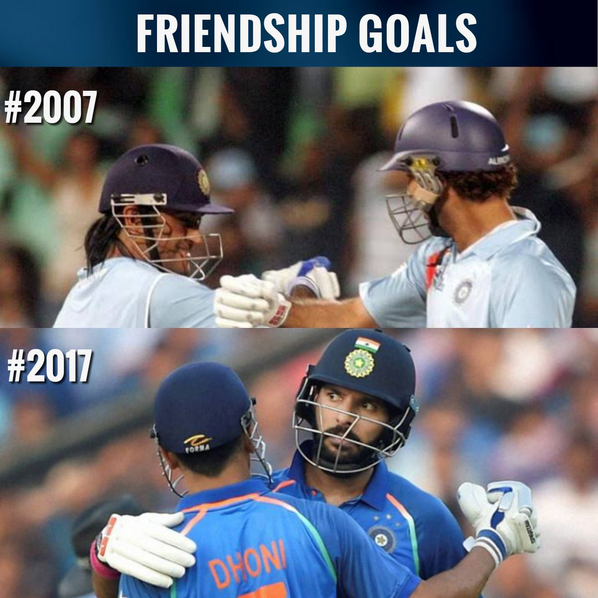 .@msdhoni and .@YUVSTRONG12 &#39;s #10YearChallenge <br>http://pic.twitter.com/tAAhT9hRCs