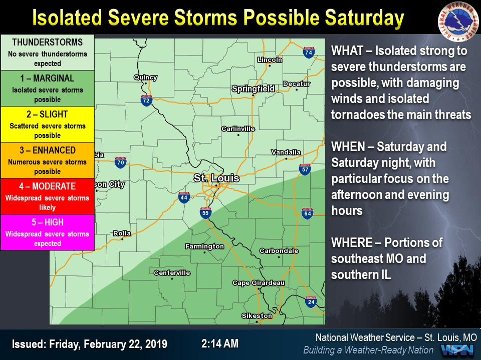 Thunderstorms are expected on Saturday and Saturday night as the atmosphere destabilizes ahead of a strong cold front.  Some of the storms may be severe, particularly across southeastern portions of Missouri and Illinois. #mowx  #ilwx