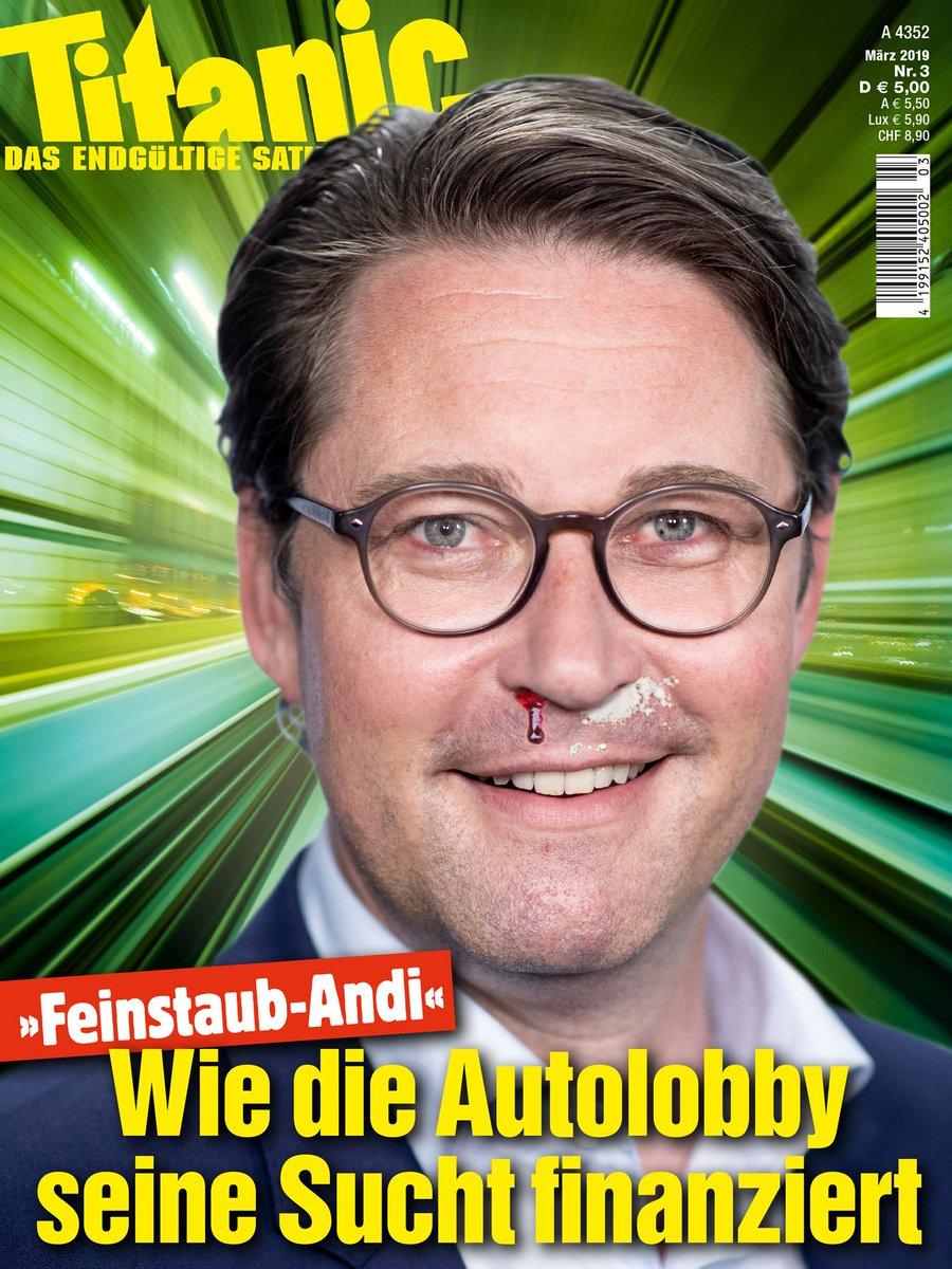'Feinstaub-Andi' Scheuer gibt Vollnas'!  Die TITANIC-Märzausgabe mit großem Auto-Spezial – jetzt an jeder Tankstelle!