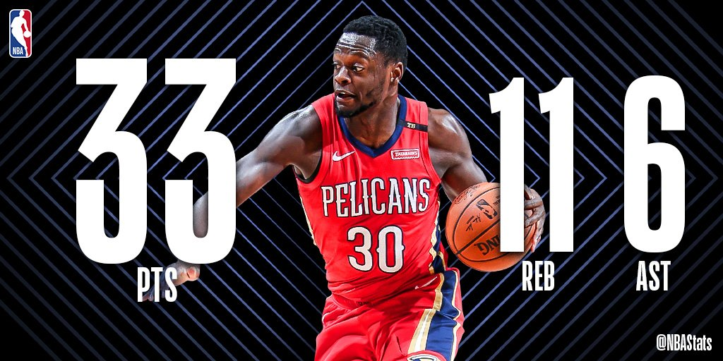 Julius Randle puts together a strong stat line of 33 PTS, 11 REB, 6 AST as the @PelicansNBA win at home! #SAPStatLineOfTheNight