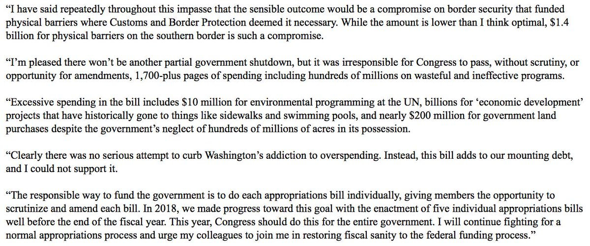 Clearly there was no serious attempt to curb Washington's addiction to spending. Instead, this bill adds to our mounting debt, and I could not support it. https://www.toomey.senate.gov/?p=op_ed&id=2353 …