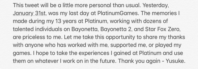 Yusuke Hashimoto [director of Bayonetta 2] Announces Departure from PlatinumGames