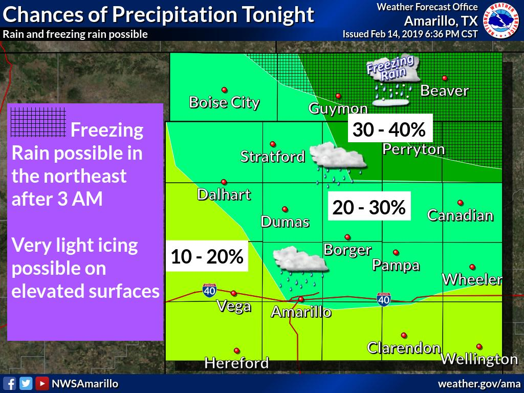 Some light rain and freezing rain will be possible overnight. A very light icing will be possible on elevated surfaces in the central and eastern Oklahoma Panhandle and the northeast Texas Panhandle. #phwx #txwx  #okwx