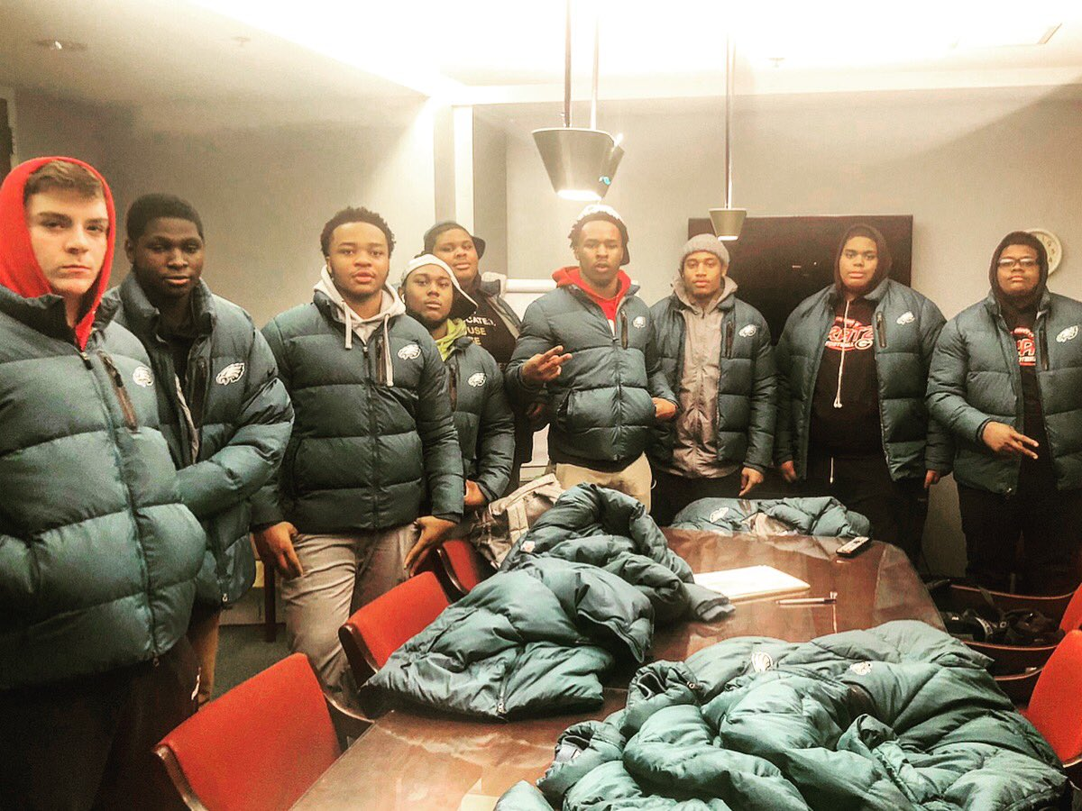 The @Eagles decided to donate their old sideline jackets to us. A whole bunch of young men are going to be warm the rest of the winter.  @AceCarterINQ @JOEL9ONE @FocusedAth_215 @JasonKelce