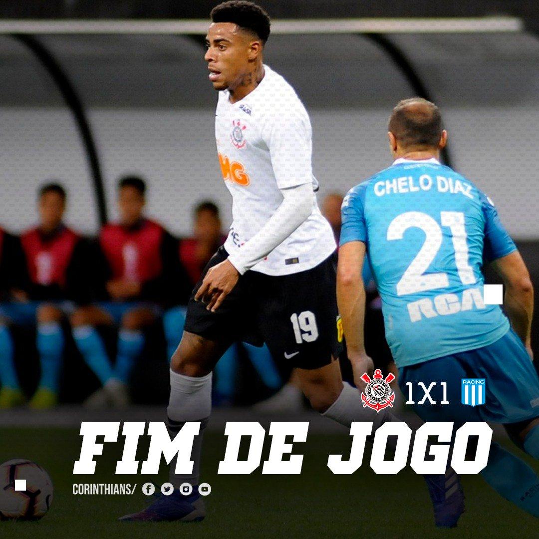 Fim de jogo. Na raça, com gol de Gustavo, Corinthians empata primeiro confronto com o Racing (ARG), na @A_Corinthians, pela primeira fase da Copa Sul-Americana. Segunda partida será no dia 27, 21h30, em Buenos Aires.