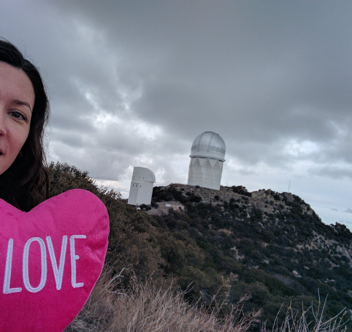 In honor of both #TBT and #ValentinesDay2019... in 2017, I spent #ValentinesDay observing at @NOAONorths 4-meter Mayall telescope as we were preparing for the @desisurvey! (Disclaimer: not so many photons were captured that particular night, but I had many other great nights)