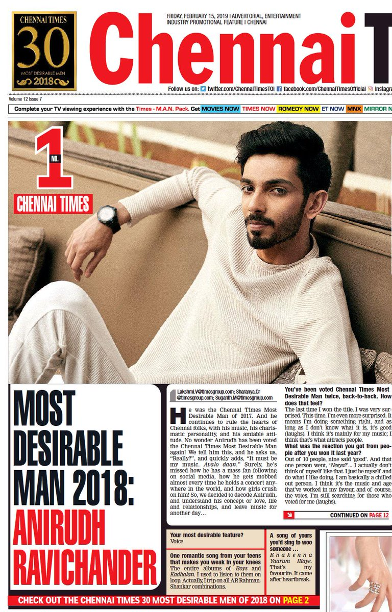 The results are out. Presenting you the #chennaitimesmostdesirablemen2018. @anirudhofficial tops the list as the #Mostdesireableman2018. Check out the results. For more visit,http://etimes.in