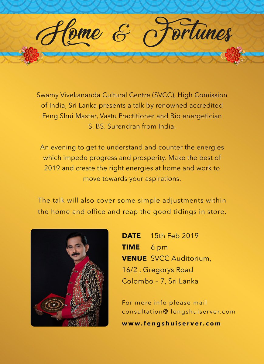 #vaastu expert talks today at SVCC,Colombo on Home and Fortune in 2019 All are cordially invited  @IndiainSL