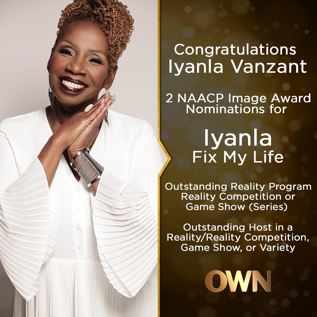 We're sending out a huge CONGRATULATIONS to Iyanla Vanzant and the entire crew of #FixMyLife for their 2 NAACP Image Award Nominations! We know how hard you work each year to bring healing to a nation that needs it now more than ever. We're proud of your achievements!