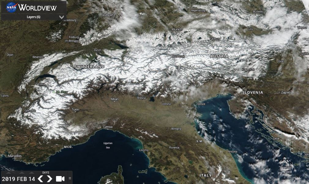 Beautiful MODIS view of the #snow covered #Alps today.  #winter #Europe