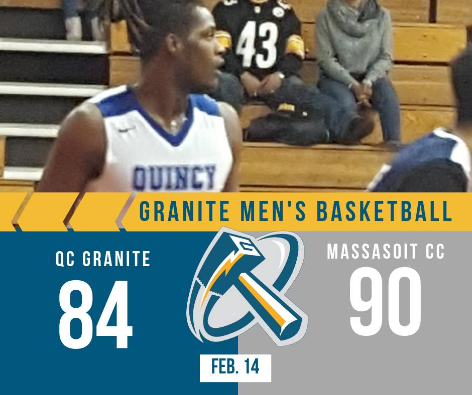 Quincy College Granite suffered an Tough OT loss to #NJCAA rival @MassasoitSports Final 84 to 90.    Saturday is QC Granite's last home game of the regular season vs. @BunkerHillCC; Tip off 7pm. pic.twitter.com/aNGn9Zh6P4