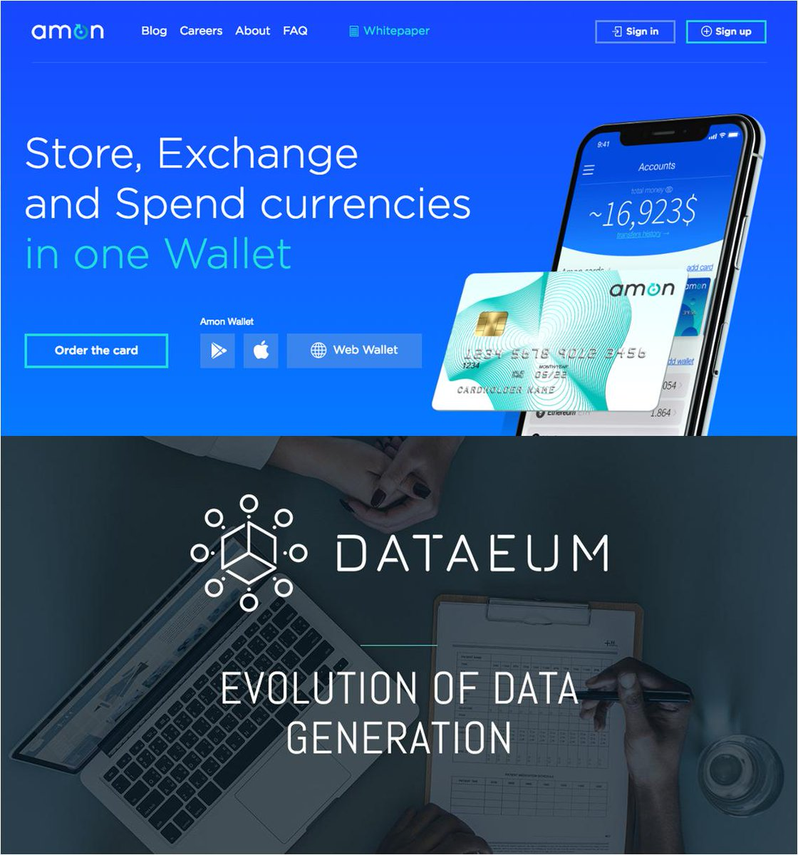 "#Blockchain opportunities: Amon .tech: an ""all-in-one"" wallet to Store, Exchange, Spend, Lend and Invest. Round: 1M€ for 20% equity.  Dataeum: crowdsourcing for data generation. Round: 8M€ hard cap. Already raised 1.5M€ #investment #fundraising #funding #startup #investors"