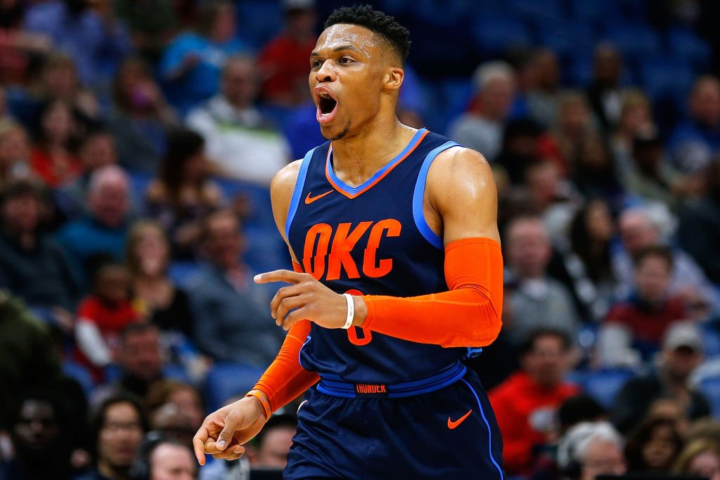 Russell Westbrook had 44 points, 14 rebounds and 11 assists at the Pelicans, his 12th career 40-point triple-double.  According to @EliasSports, only Oscar Robertson has more in NBA history.