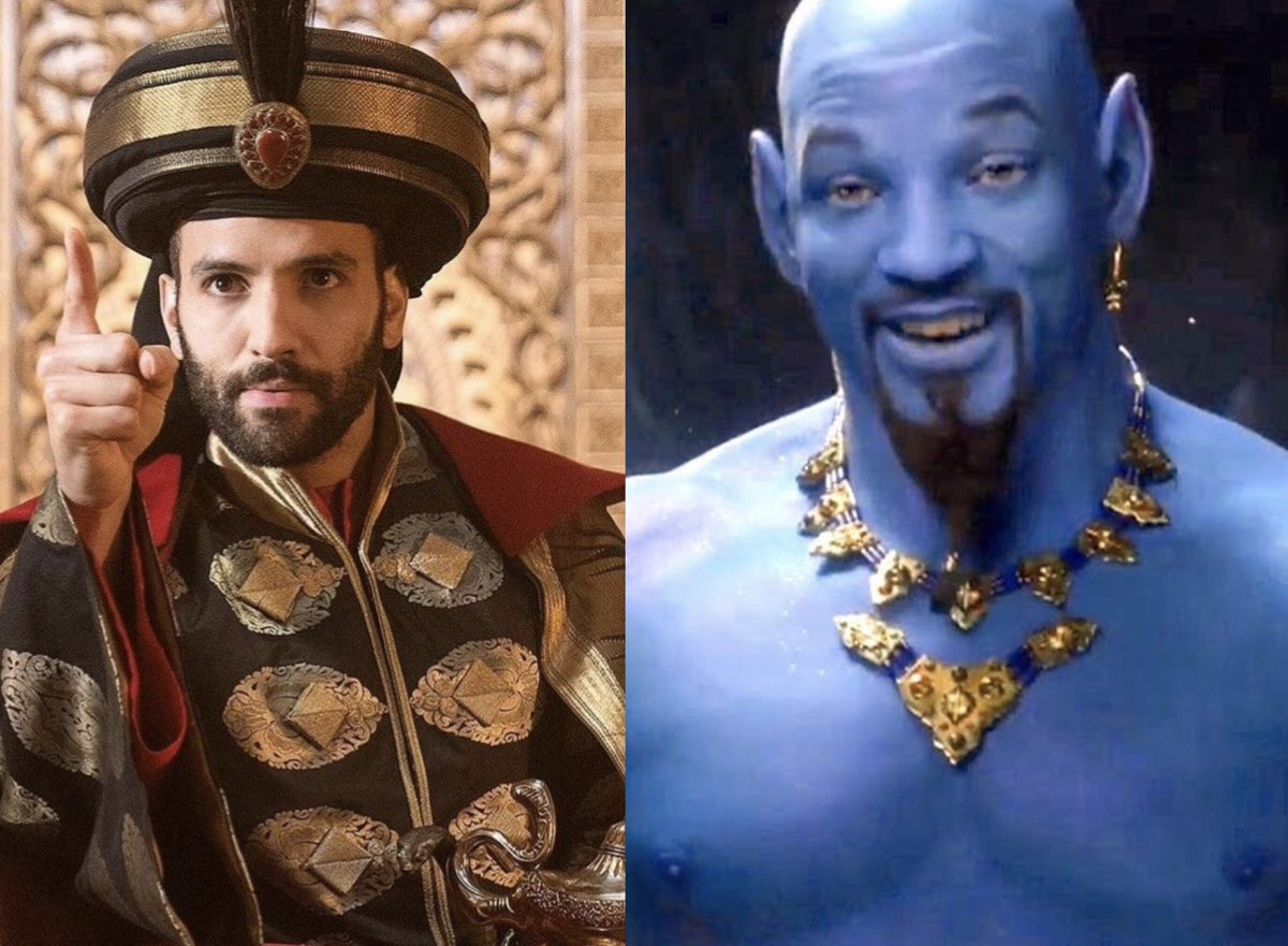 Seriously, @Disney? THAT'S who you cast for #Jafar, just some random, young, too good-looking dude who's not intimidating at ALL. Then a blue #WillSmith looking like terrible #ScorpionKing CGi from 2001. Could you please just STOP already?! #Aladdin2019 <br>http://pic.twitter.com/lNaOIx73XH