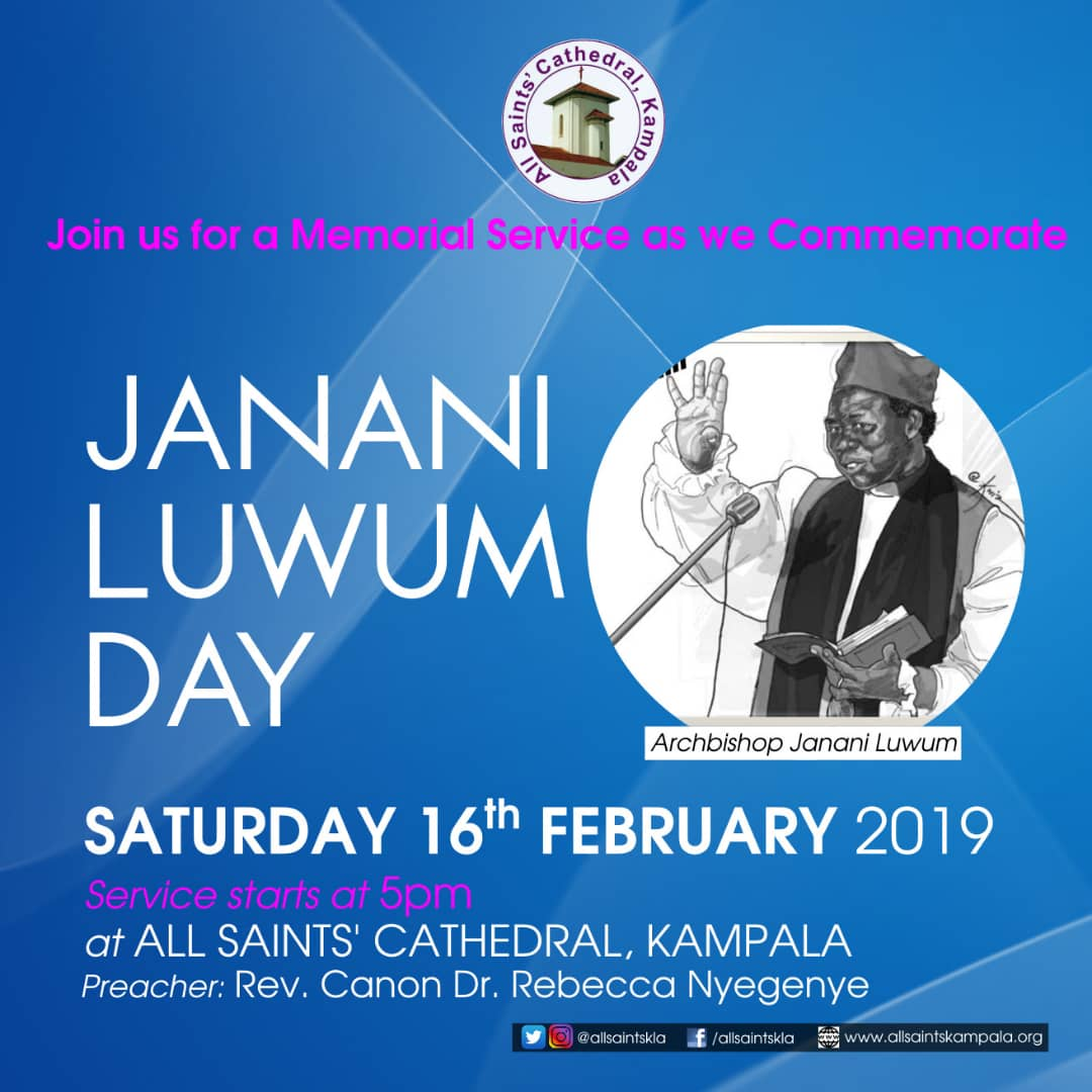 Join us tomorrow at 5pm as we celebrate Bishop Janani Luwum. @DailyMonitor @newvisionwire @greisaine @ChurchofUganda @Mercykains @ntvuganda @nbstv