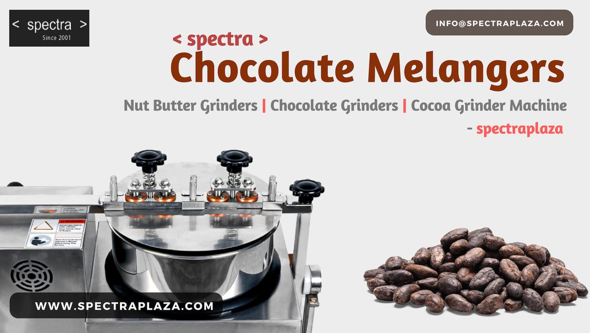 This amazing #Spectra Stone #Mélanger is the perfect companion as we have made several key enhancements to the Stone #Grinder to make it perfect for #chocolate , #nutbutters, Mexican masa, cosmetics and other food processing. Contact: info@spectraplaza.com http://www.spectraplaza.com