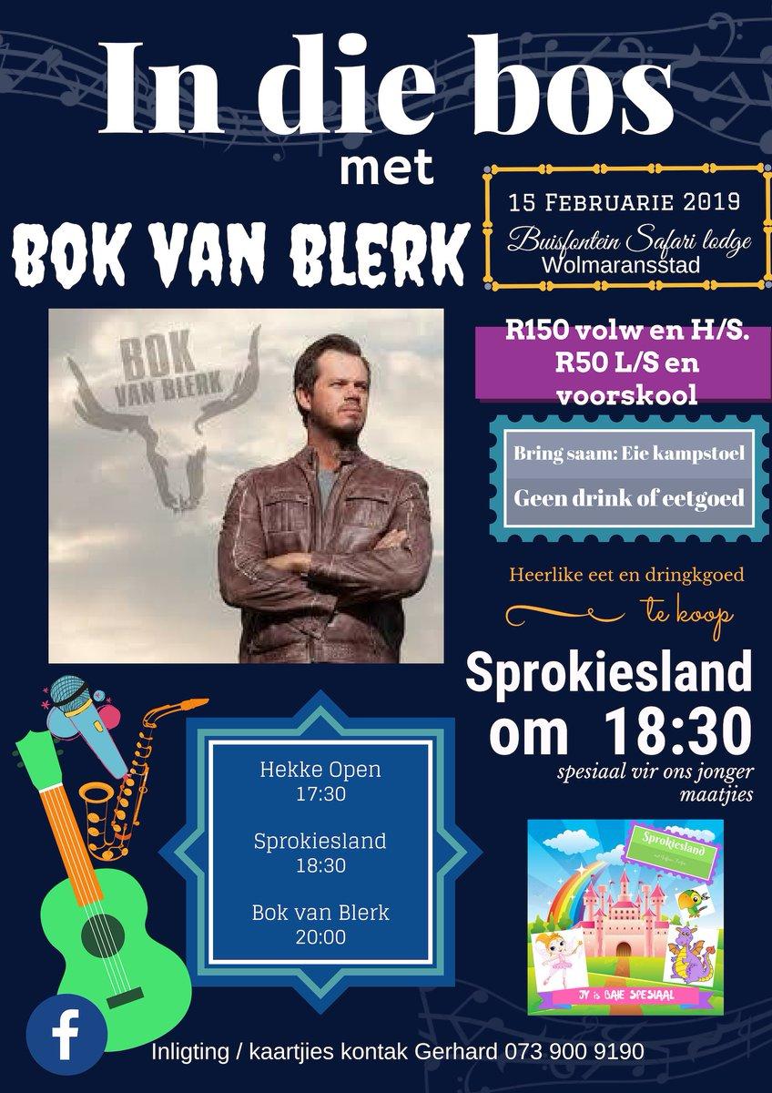 Vanaand is dit #InDieBos met @BokvanBlerkReal! Reën gaan nie hierdie partytjie stop nie! Dit is geskuif na binne! Daar is nog kaartjies beskikbaar en dit is vir 'n goeie doel! Sien jou vanaand by Buisfontein Safari Lodge in Wolmaransstad!