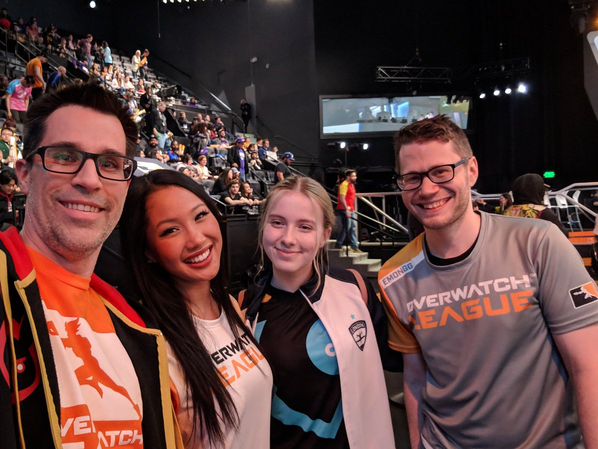 Hey! Look who I ran into at #OverwatchLeague @emonggtv @FRANA_OW @C9Aspen. Opening Night continuing to be awesome! #OWL2019