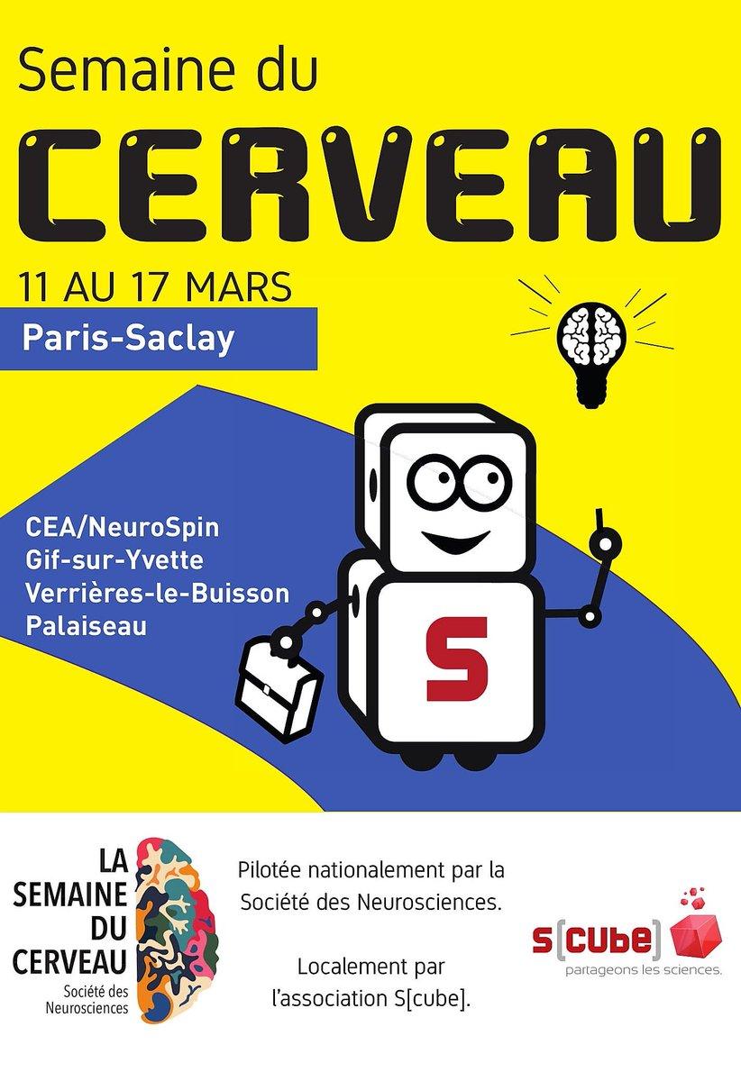 #event Dans 1 mois, la Semaine du #Cerveau battra son plein à la @ComParisSaclay. Tout le programme local : …-du-cerveau.partageonslessciences.com #sdc19 organisé par @SocNeuro_Tweets nationalement et localement par @Scube_CST https://t.co/cQ76NP86be