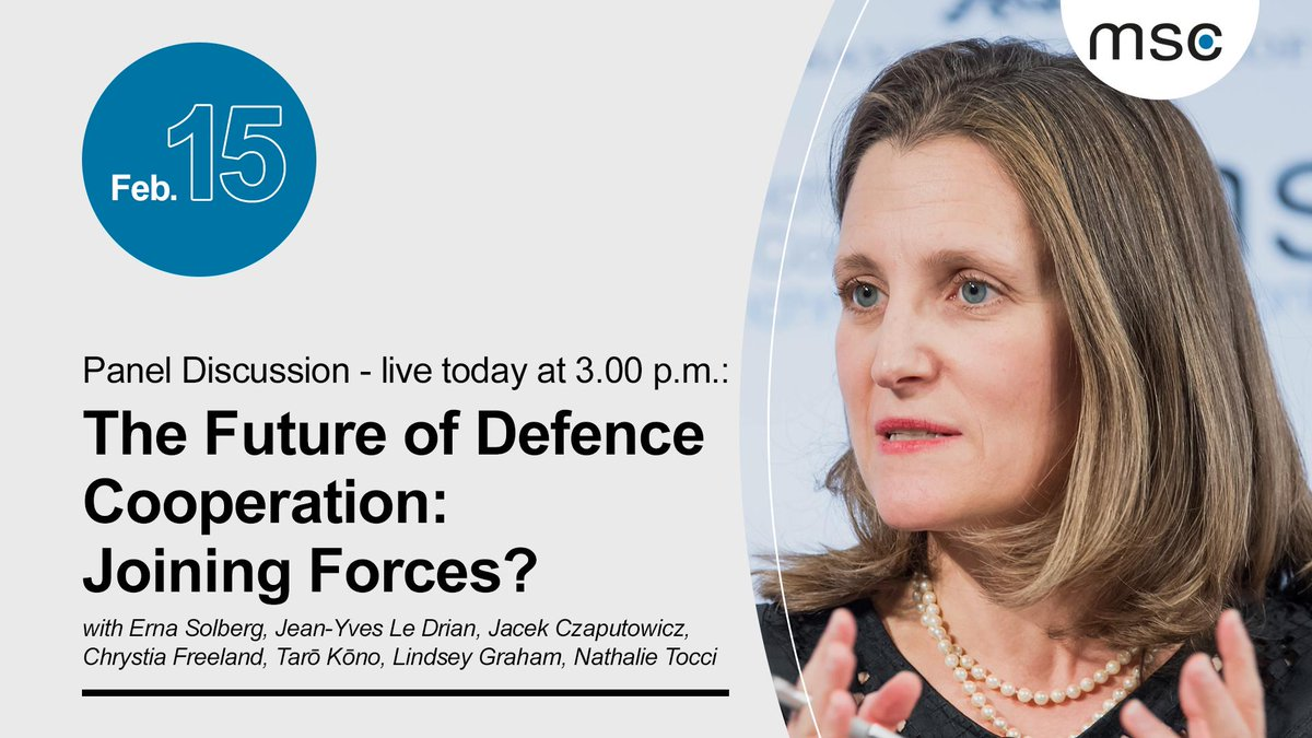 "Up next: Panel discussion ""The Future of Defence Cooperation: Joining Forces?"" w/ @erna_solberg, @JY_LeDrian, Jacek Czaputowicz, @cafreeland, @konotaromp, @LindseyGrahamSC and @NathalieTocci. Watch live: http://securityconference.de/msc-2019/live  #MSC2019"