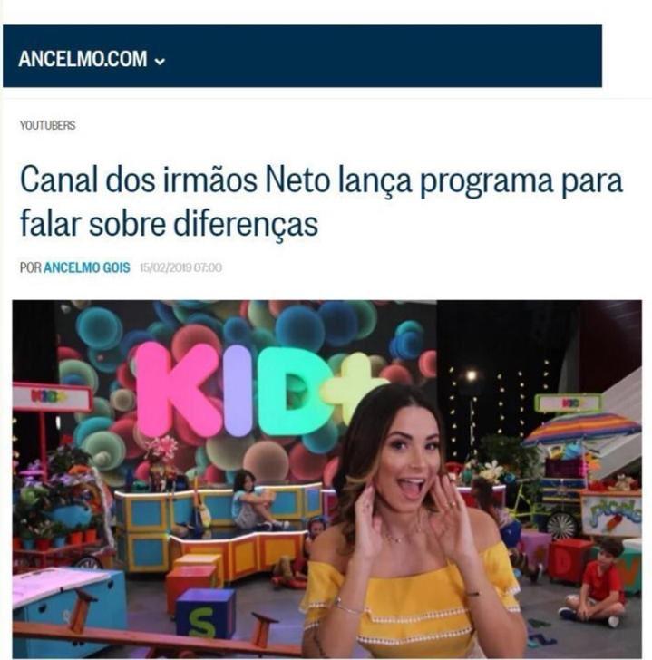Novo programa do canal Irmãos Neto será sobre inclusão, aceitação e como crianças lidam com as diferenças.  Tudo isso com muito humor e brincadeiras, apresentado pela @Br_unagomes (LINDA!)  KID+ vai ser incrível. Um projeto lindo.