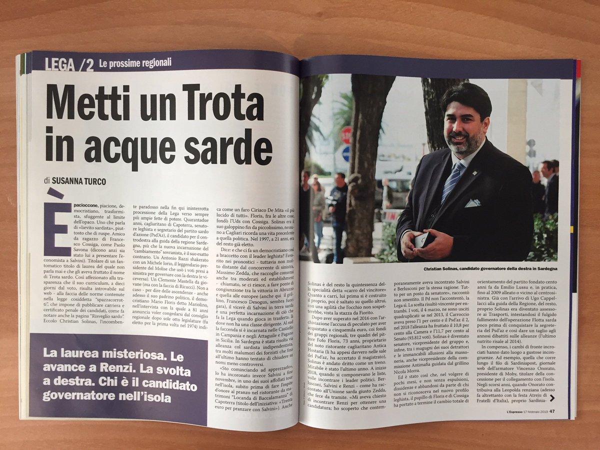 Chi è il candidato di Salvini in Sardegna? Ve lo racconta la nostra @susannaturco su #lespresso in edicola da domani  Per leggerlo online 👉https://t.co/q2GkoNQKkO  Per scoprire gli altri articoli della settimana 👉  https://t.co/v4O5KlCfsV