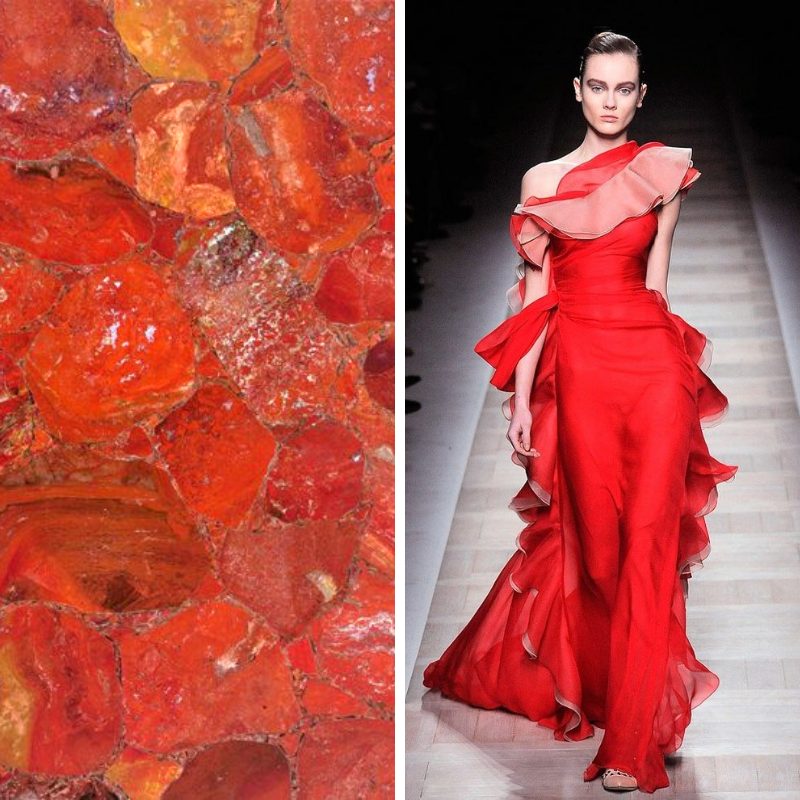 #FASHIONFRIDAY Just in case you didn't get enough #red yesterday in your feeds, here is a gorgeous @Valentino Gown next to our #RedJasper #semiprecious material. #Preciousstones #cumarmarbleandgranite #lineacouture #marble #granite #quartzite https://t.co/i2nYQJqemf