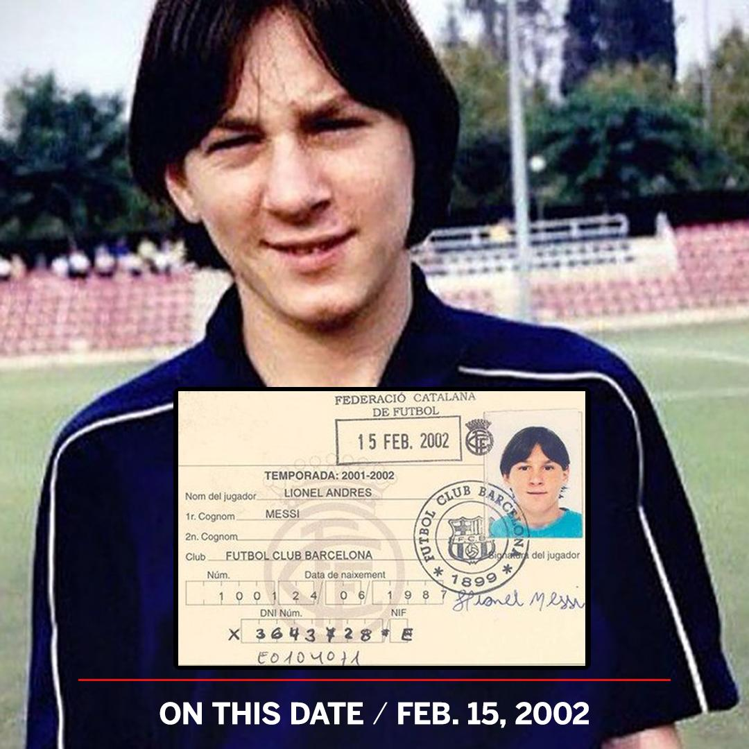 17 years ago today, Lionel Messi signed his first Barcelona contract ✍🏼