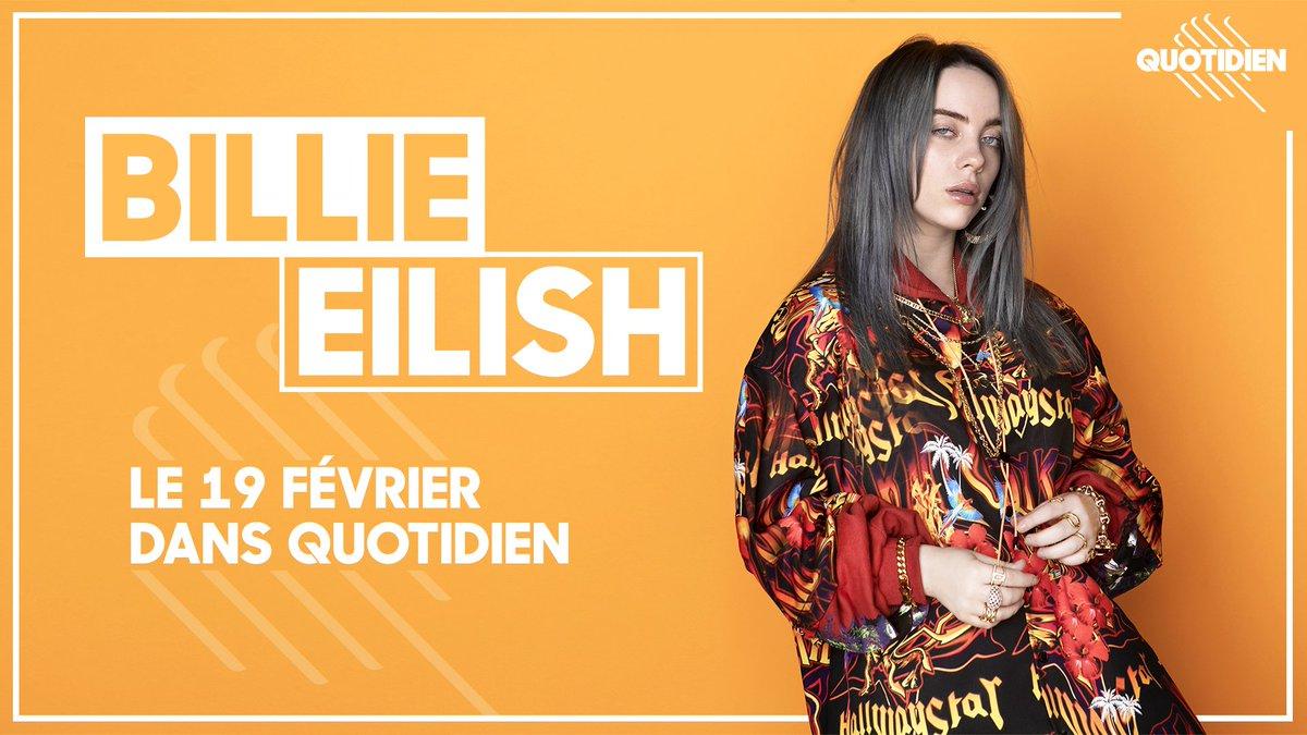 👉 Notez-le ! À seulement 17 ans, @Billie_eilish est déjà une star mondiale. Considérée comme la nouvelle sensation de la pop, elle cumule plus de 4 milliards de streams dans le monde. Elle sera dans#Quotidien  le 19 février !