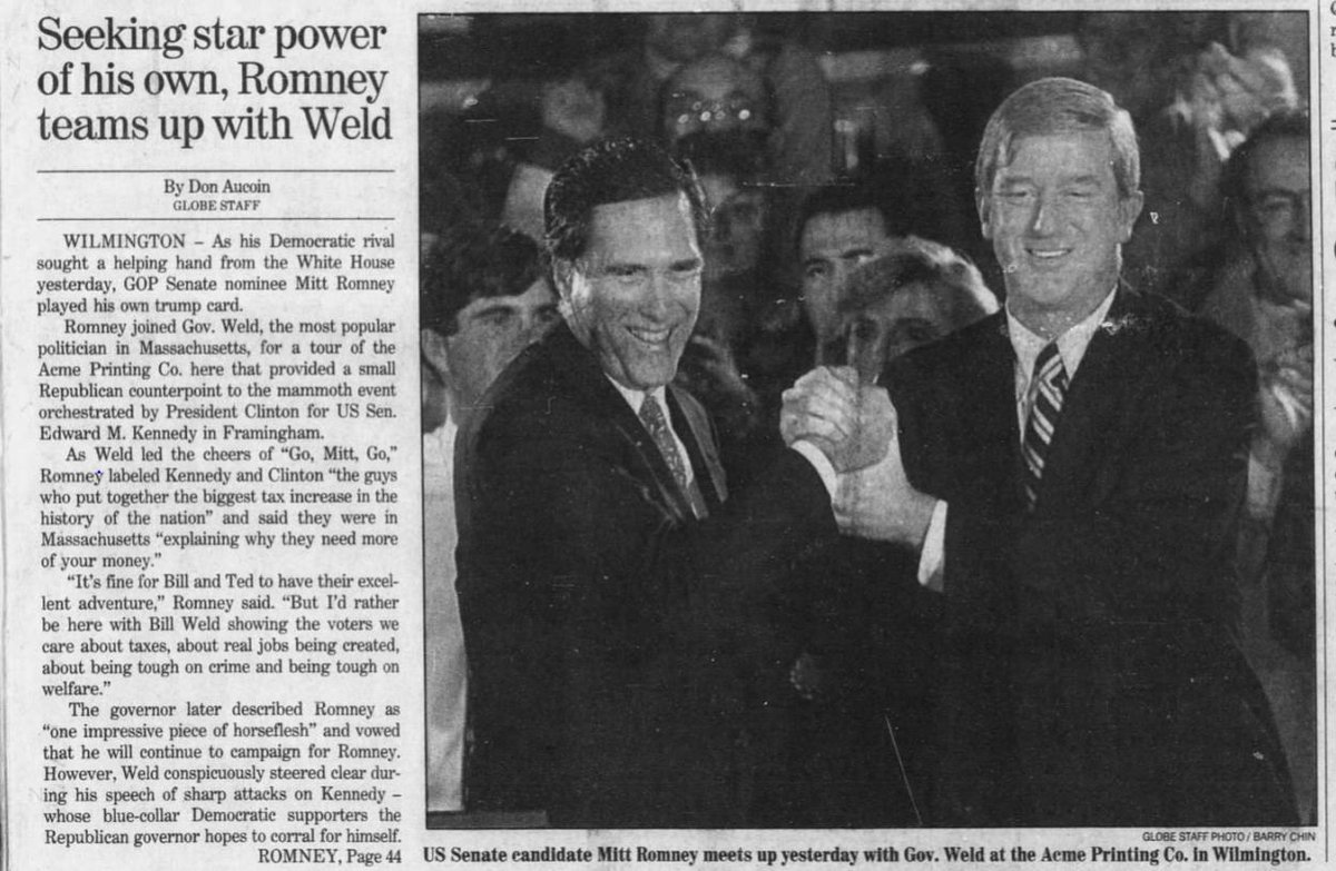 Worth noting that Bill Weld, who is now exploring a GOP primary challenge to Donald Trump, and Mitt Romney were close allies in their MA days and have stayed on good terms through the years (with Weld pitching in for Romney's WH bids)