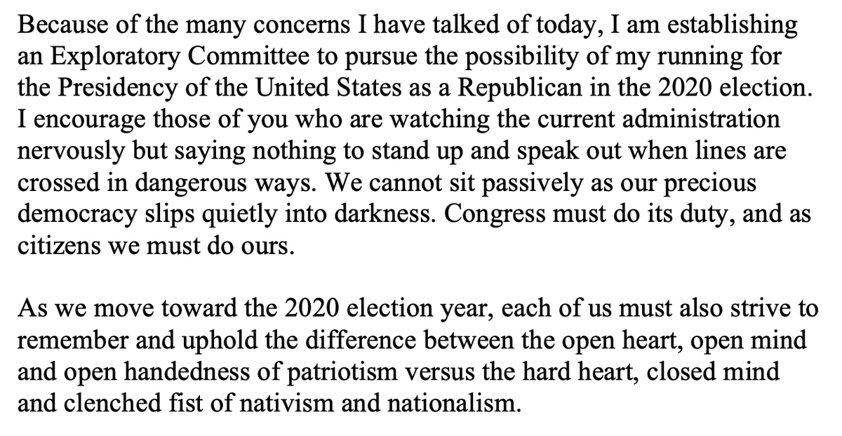 Here's the money quote from Bill Weld's 2020 announcement