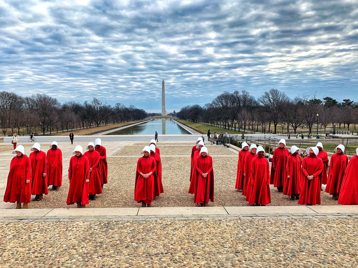 Happening now: Hulu's The Handmaid's Tale filming all day on the National Mall.